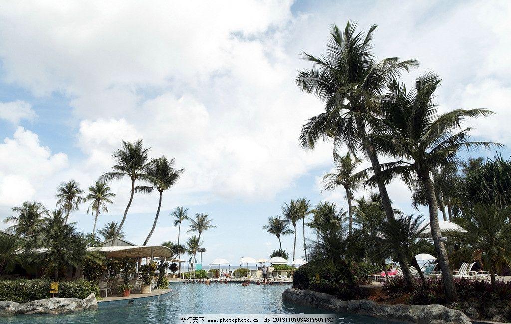 热带岛屿 小岛 大海 椰子树 蓝天白云 碧海蓝天 海边休闲地 自然风景