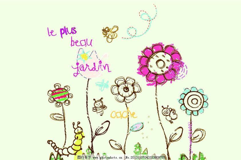 梦幻花园 花园 花朵 蜜蜂 虫子 小草 风景画 卡通画 矢量 背景底纹 卡