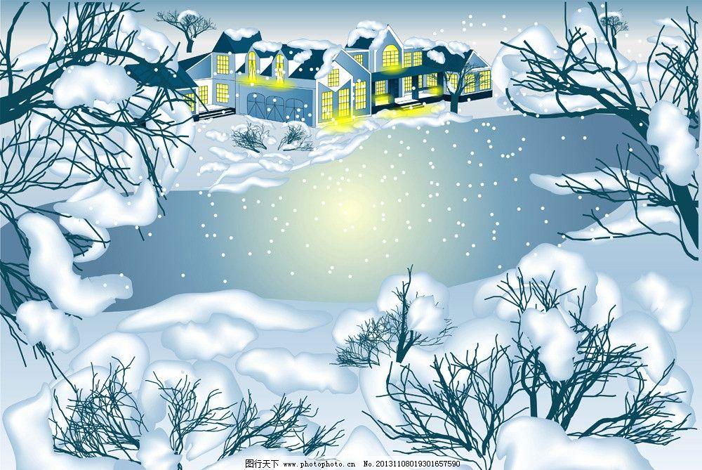 手绘树木雪景图片