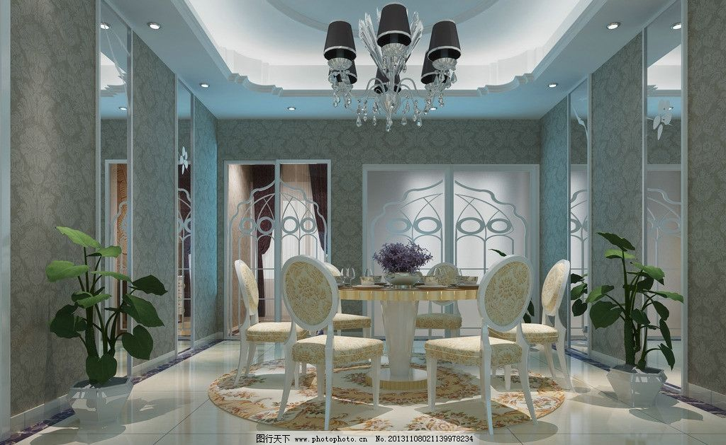 欧式餐厅效果图 现代风格 低调奢侈 室内设计 装修        3d设计