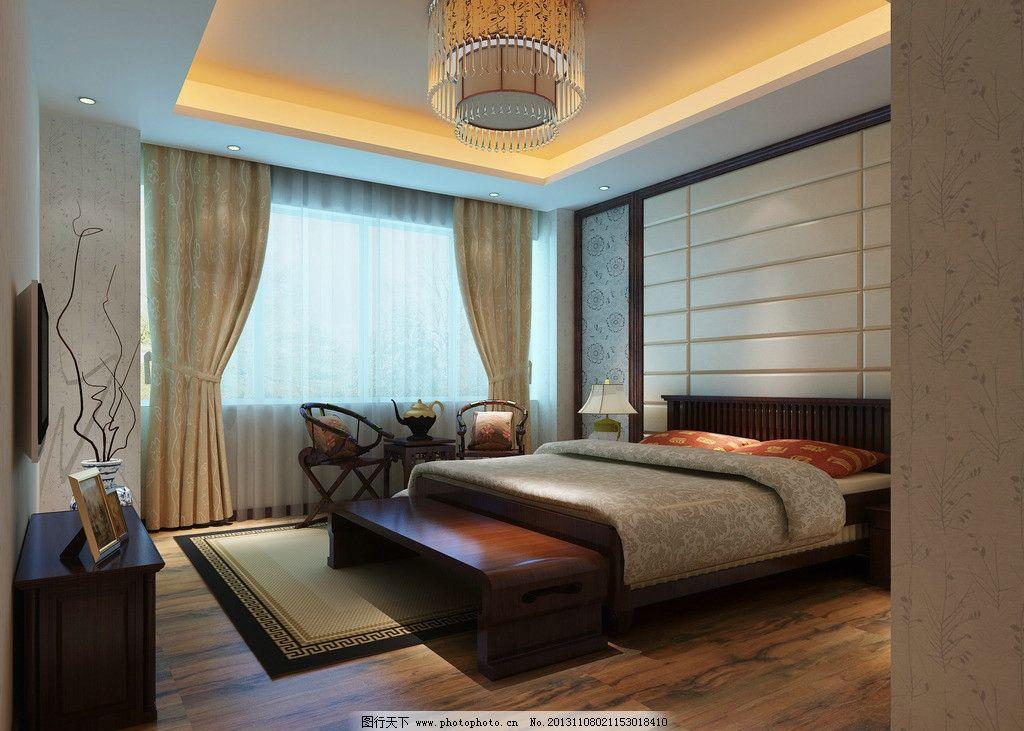 新中式主卧室效果图 现代风格 低调奢侈 室内设计 装修        3d设计
