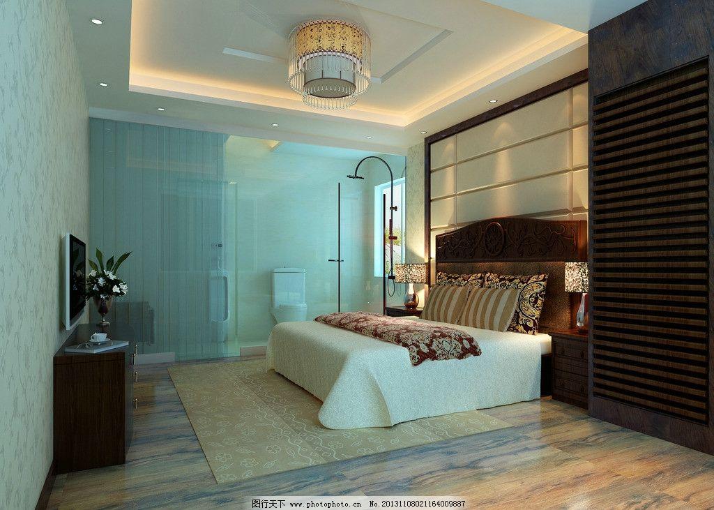 新中式主卧室效果图 现代风格 低调奢侈 室内设计 装修        3d设计图片
