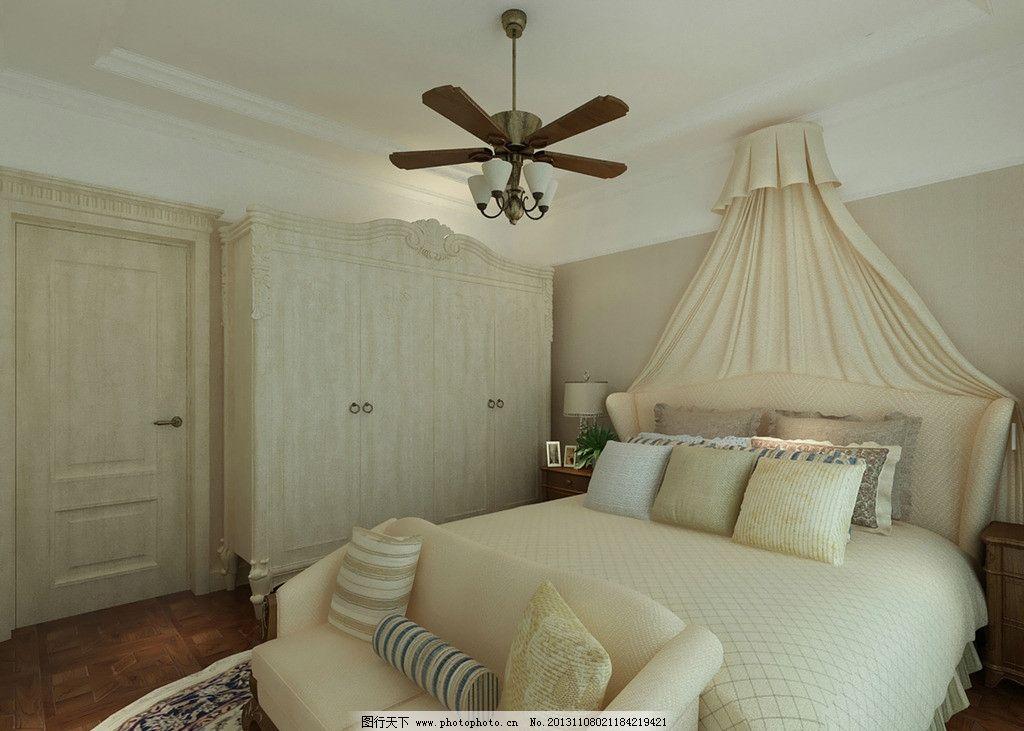 法式风格卧室 法式 欧式 明亮 清新      床铺 地毯 3d作品 3d设计 设图片