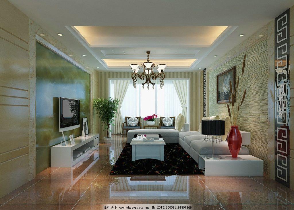 新中式客厅效果图 现代风格 低调奢侈 室内设计 装修        3d设计