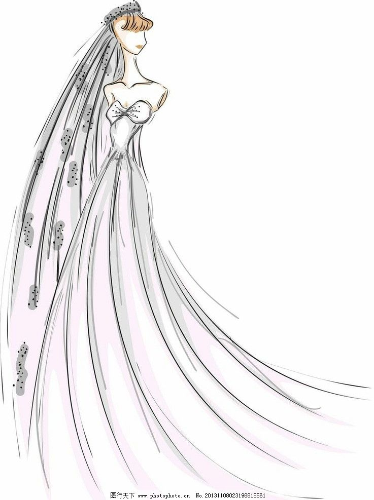 手绘新娘 新娘 婚纱 婚礼 婚庆 时尚 潮流 梦幻 古典 欧式 浪漫 背景
