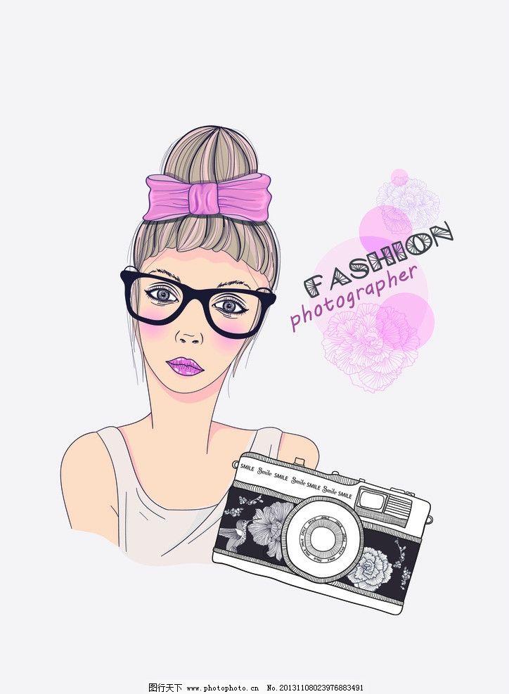 插画美女 漫画女孩 素描女孩 日系风女孩 相机 眼镜框 其他人物 矢量