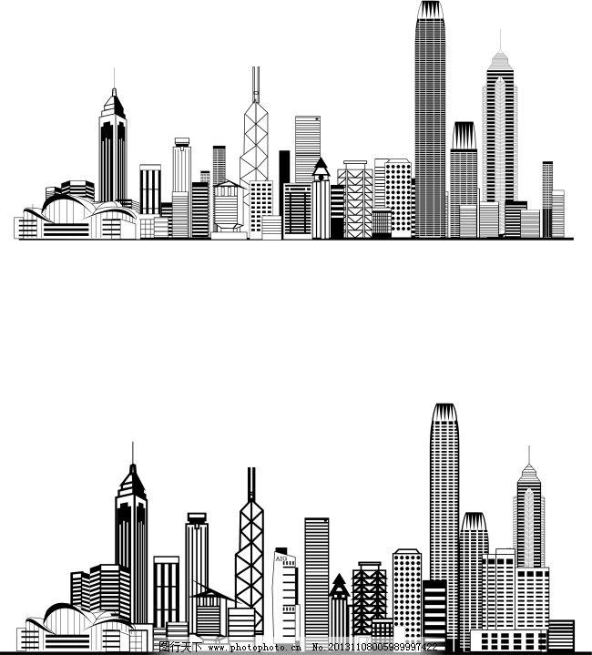 城市剪影 手绘都市 城市线框图 手绘都市 简洁手绘城市 城市剪影 矢量
