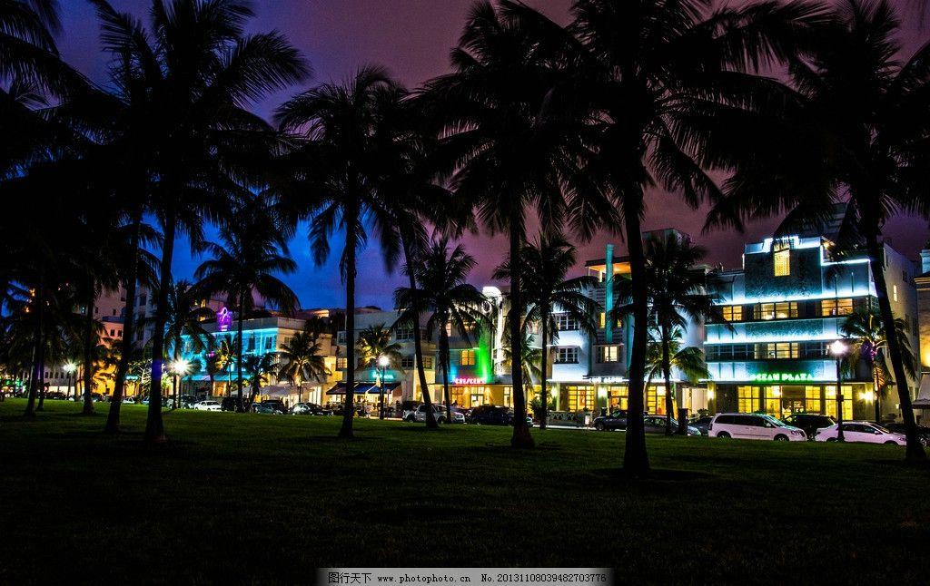 迈阿密建筑 城市 夜景 棕榈 椰子树 酒店 草地 别墅 建筑 高楼大厦