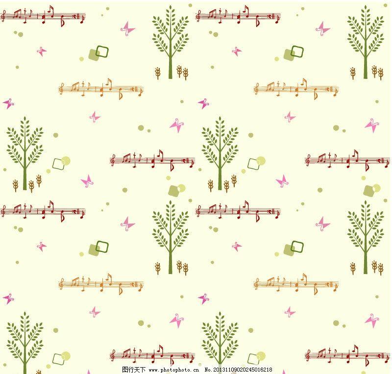 可爱小树背景 音乐 乐符 花纹 布纹 底纹 卡通可爱背景 卡通底纹