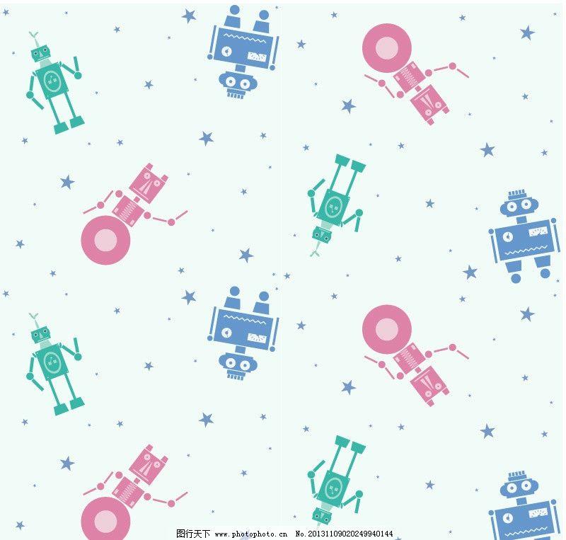 可爱机器人底纹背景 机器人