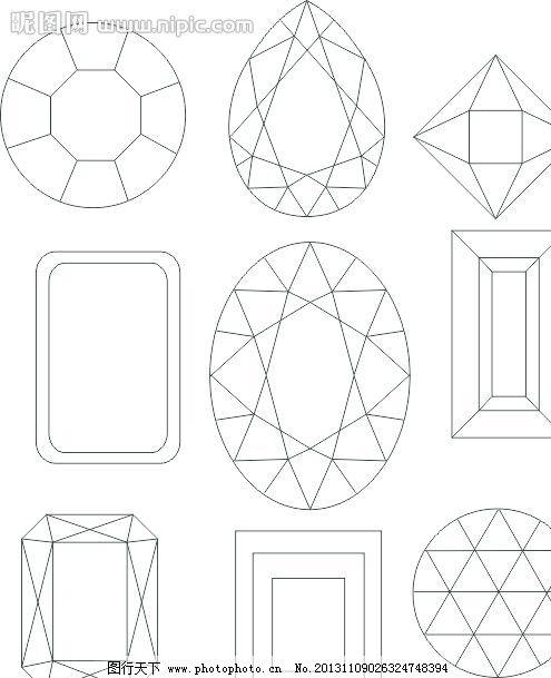 钻石俯视图手绘
