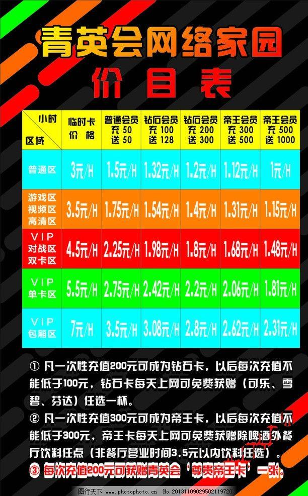 网吧网络价目表图片