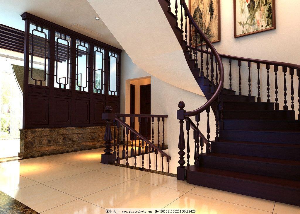 新中式室内效果图 室内设计 楼梯间