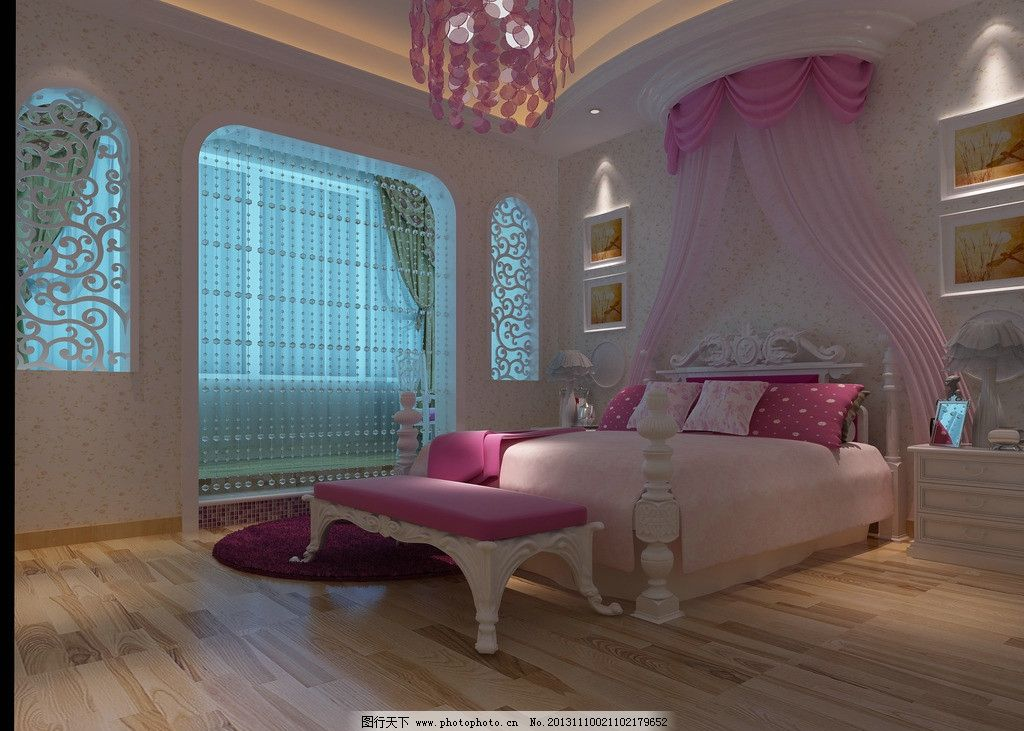 欧式女儿房效果图 室内设计 装修        3d设计 楼梯间 欧式女儿房图片