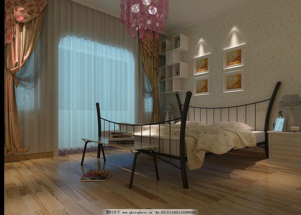室内设计 装修        3d设计 床铺 欧式客卧 简欧风格 3d作品 设计图片