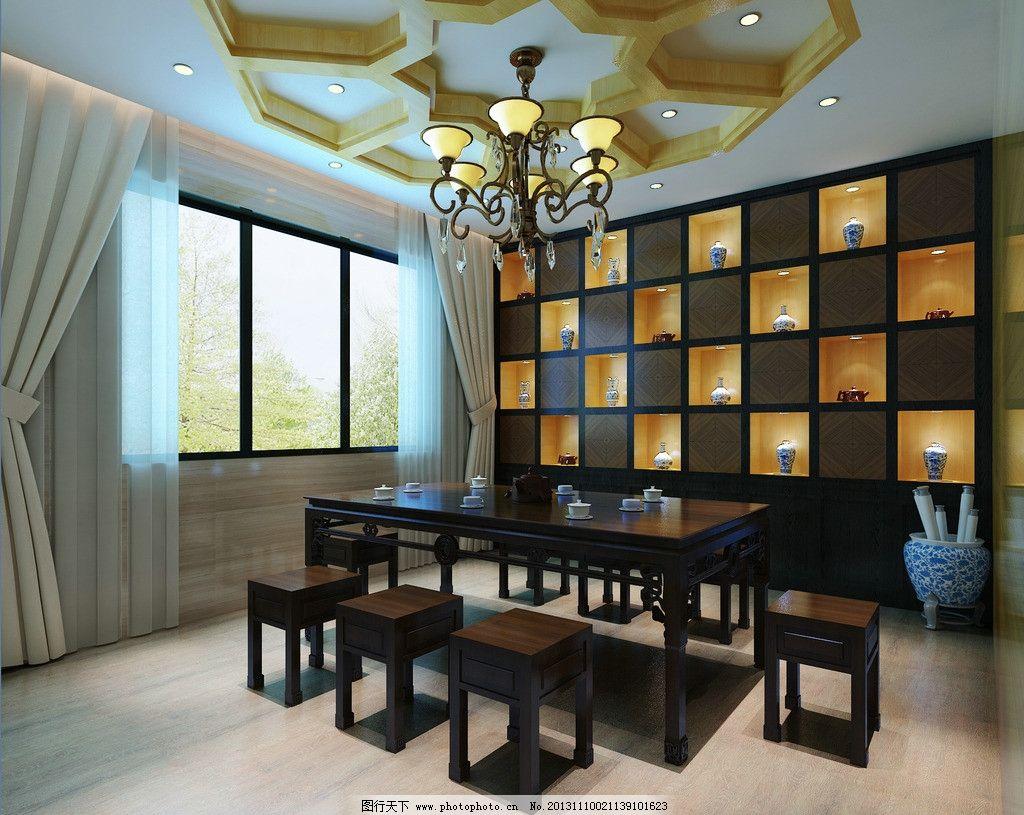 新中式书房效果图 室内设计        现代风格 3d设计 书房 新中式 3d图片