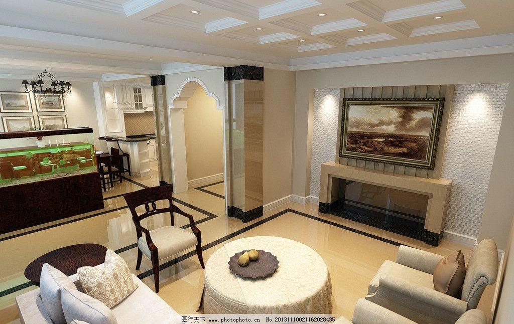 欧式室内效果图 欧式客厅 田字吊顶 简洁壁炉 大气鱼缸 米黄大理石
