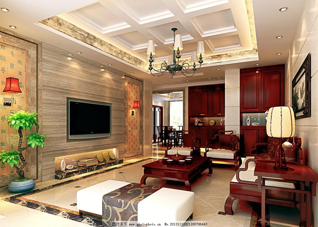 新中式效果图 红木家具