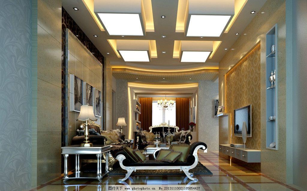 欧式客厅效果图 欧式客厅        发光灯箱 洞石 啡网纹大理石 抛光砖