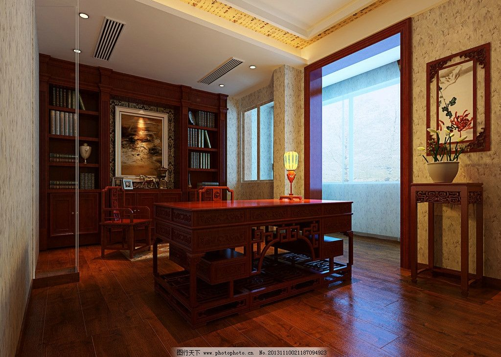 新中式书房效果图        室内设计效果图 套房 新中式 书柜 植物 3d