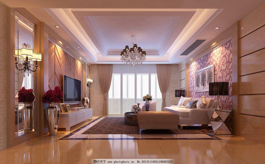 欧式客厅效果图 沙发 电视背景墙 室内设计