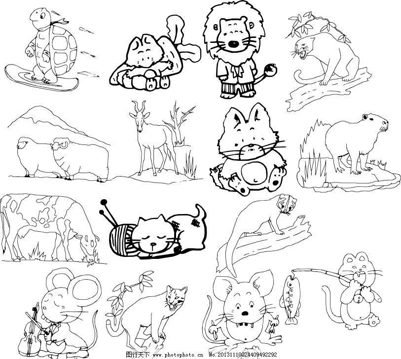 经典动物素描图