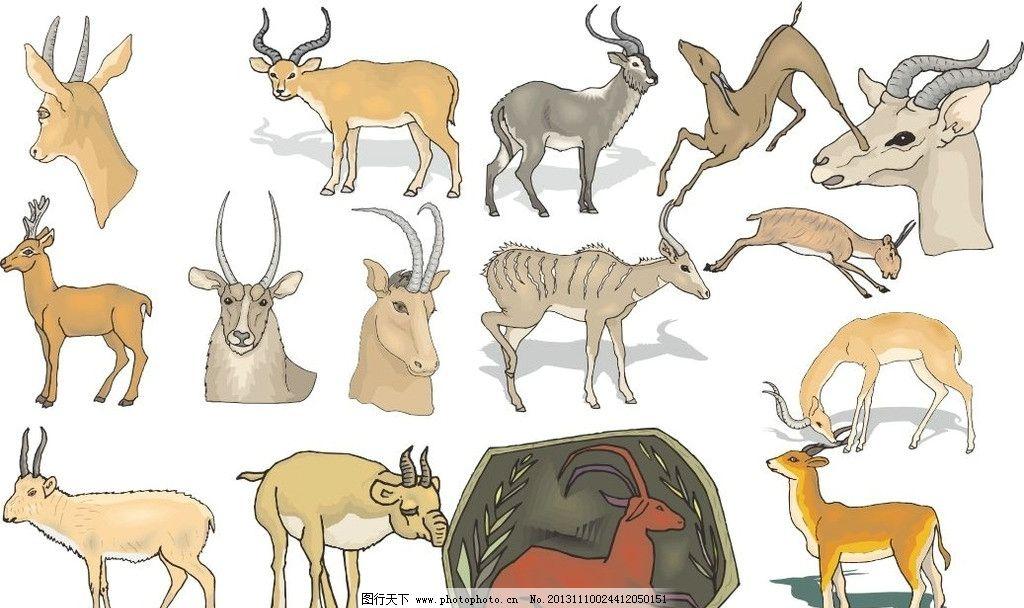 手绘动物铅笔画麋鹿