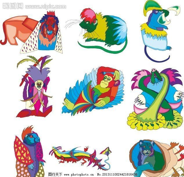 动物世界 猴 狮子 鼠 艺术设计