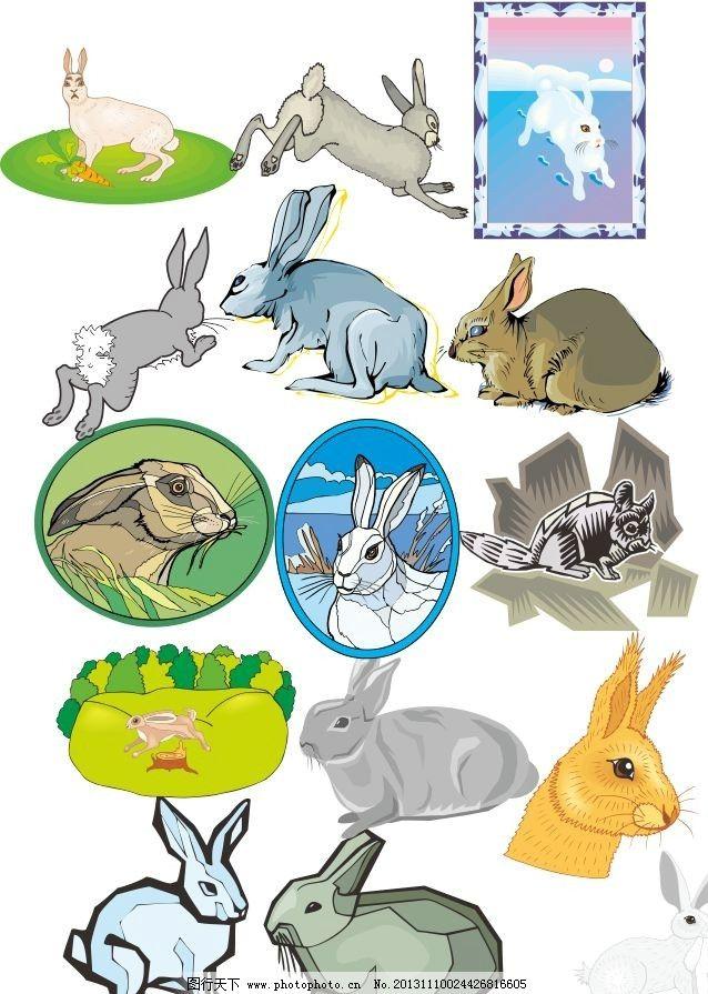 动物世界 鹿 兔子 素描 陆地动物 各种动物矢量素材 各种动物模板下载
