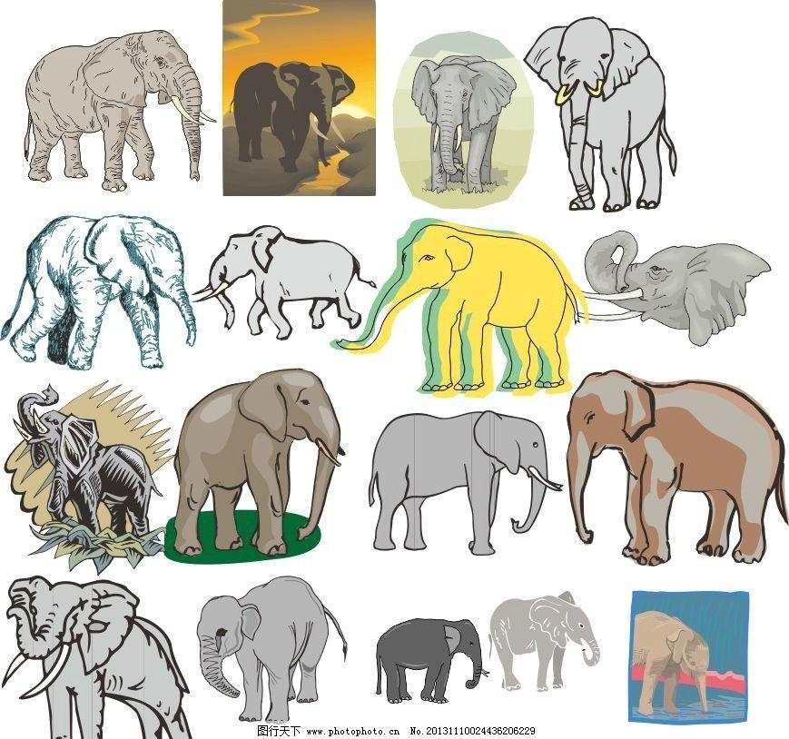 动物世界 大象 象群 动物家族 素描 动物 陆地动物 生物世界 各种动物