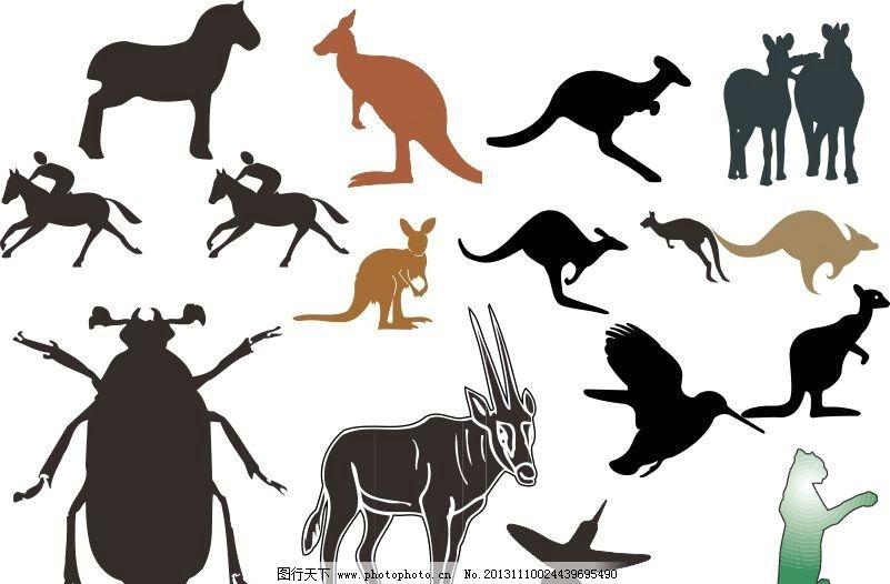 动物世界 马 袋鼠 羊 昆虫 虫子 经典动物素描图 素描 动物 陆地动物