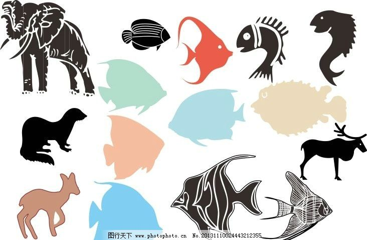 动物世界 大象 鱼 海马 剪影 动物剪影 经典动物素描图 素描 动物