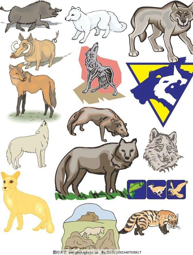 动物世界 狼 狐狸 犀牛 素描 动物 陆地动物 生物世界 各种动物矢量