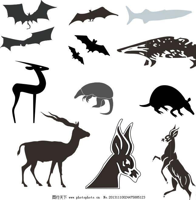 动物世界 鼠 老鼠 蝙蝠 鹿 剪影 动物剪影 经典动物素描图 陆地动物