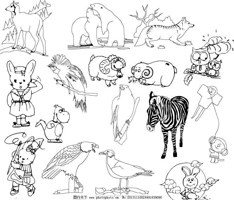 各种动物模板下载 各种动物 广告设计 线条 海洋动物 手绘动物矢量