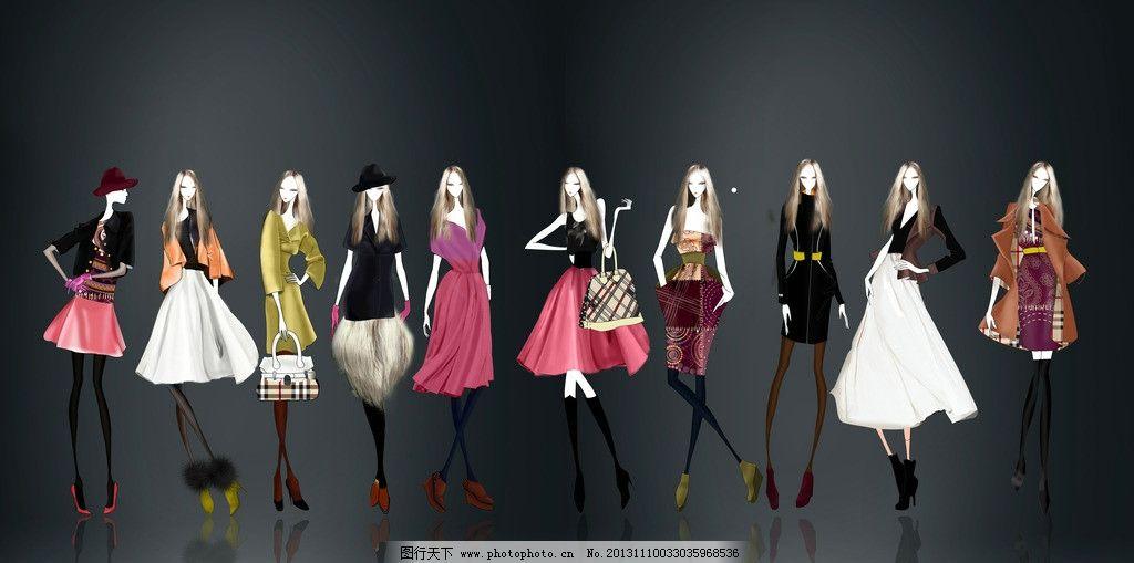 手绘服装设计一系列图片