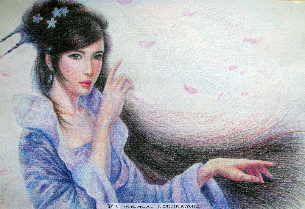 彩铅美女 艺术 绘画 手绘 水溶彩铅 古装美女 花瓣 数字绘画艺术壁纸