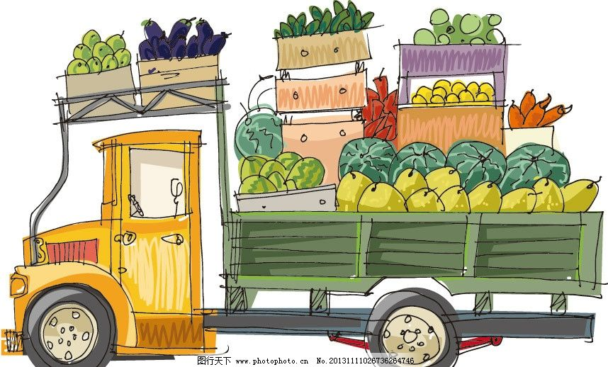 水果蔬菜运输车 卡通 可爱 卡车 汽车 运输 水果 蔬菜 物流 快运 背景