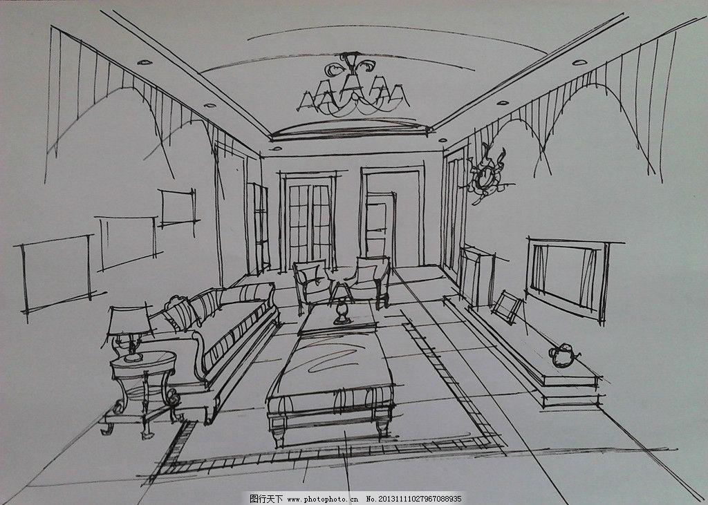 手绘室内效果图 手绘        室内设计 徒手绘 手绘建筑 环境设计