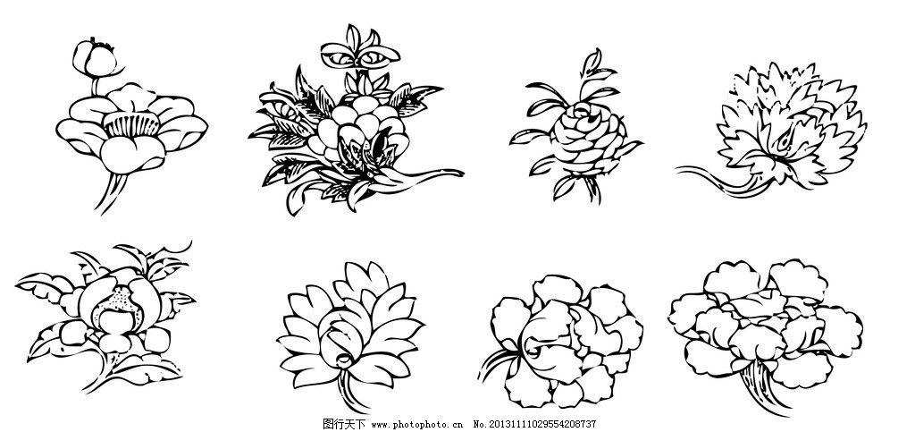 精品古典花纹 花朵 佛教 宗教 藏传佛教 线描 广告设计 矢量 ai