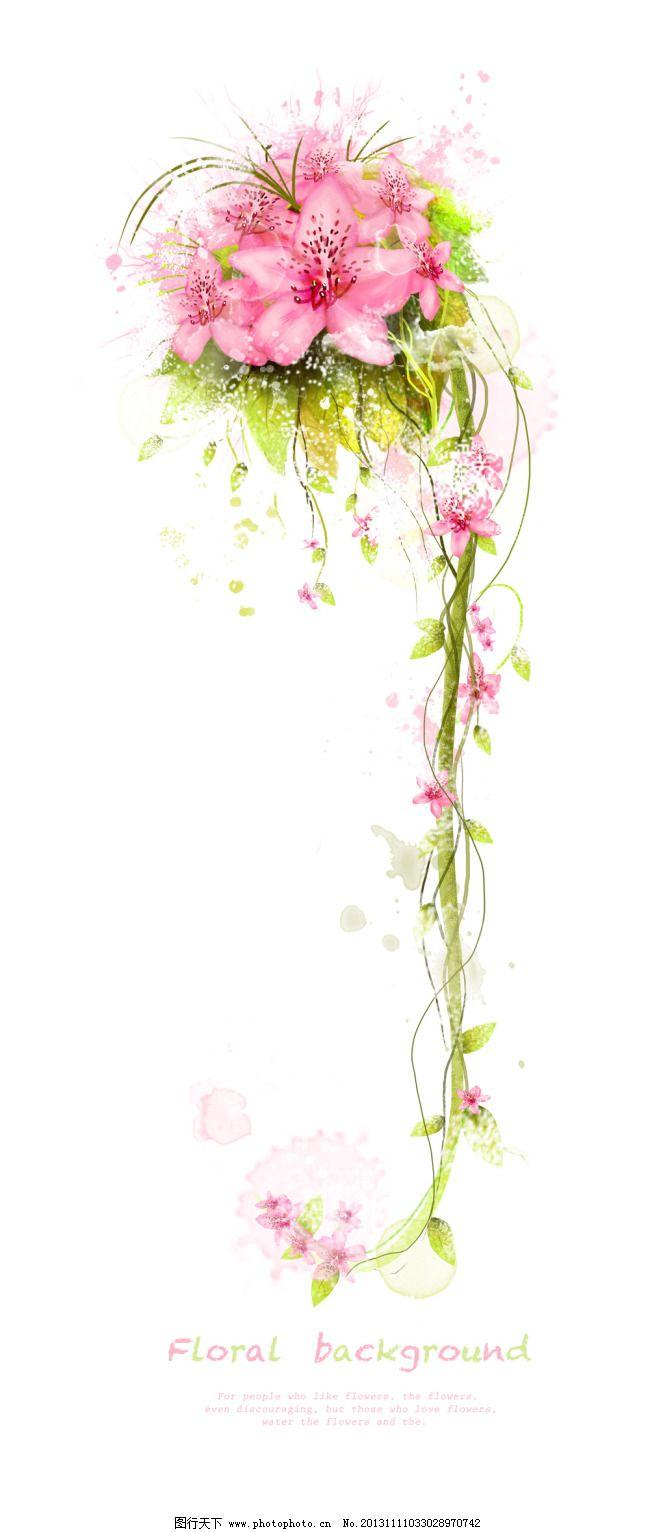盛开鲜花 花朵图片 粉色鲜花 艳丽花卉 唯美花纹 藤蔓枝叶 花藤花枝