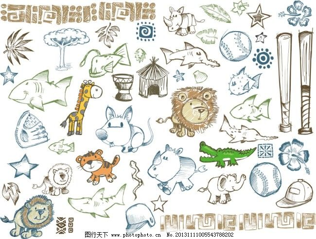 手绘卡通免费下载 绘画 简单绘画 卡通 卡通动物 漫画 铅笔画 手绘