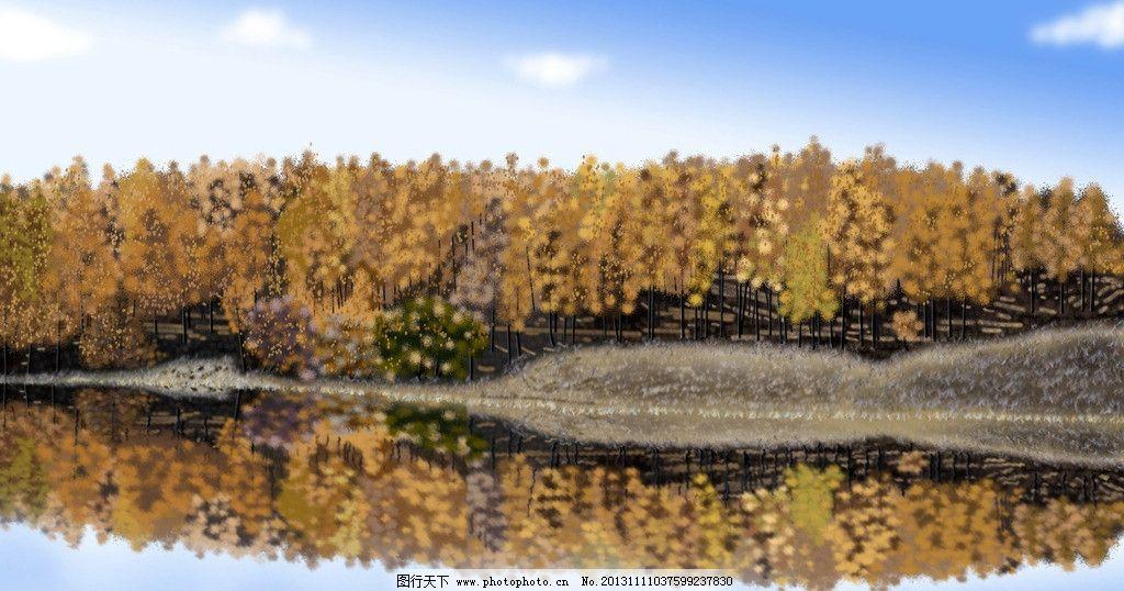 秋林 动漫 秋天 树林 秋天树林 坝上秋天 山水 手绘 手绘秋林 风景