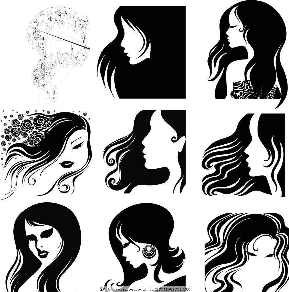 美发头像 长发 女性黑白头像剪影 女性      黑白 剪影 理发 广告设计