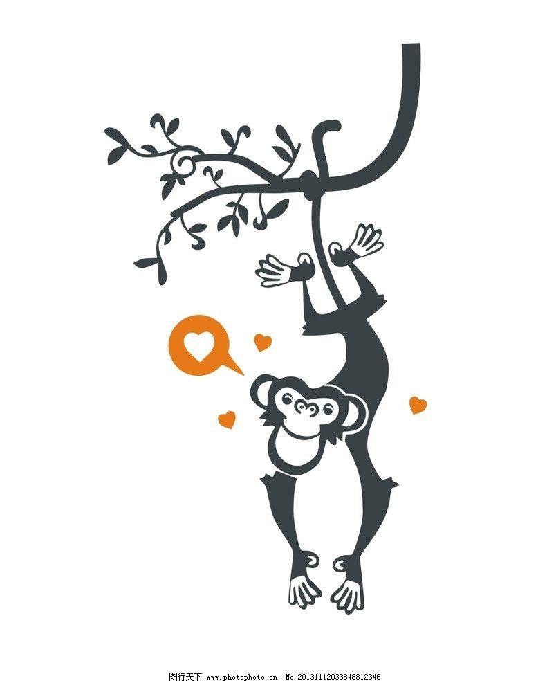 倒挂猴子 猴子捞月 卡通 儿童 儿童印花 服装印花 图案 图形设计