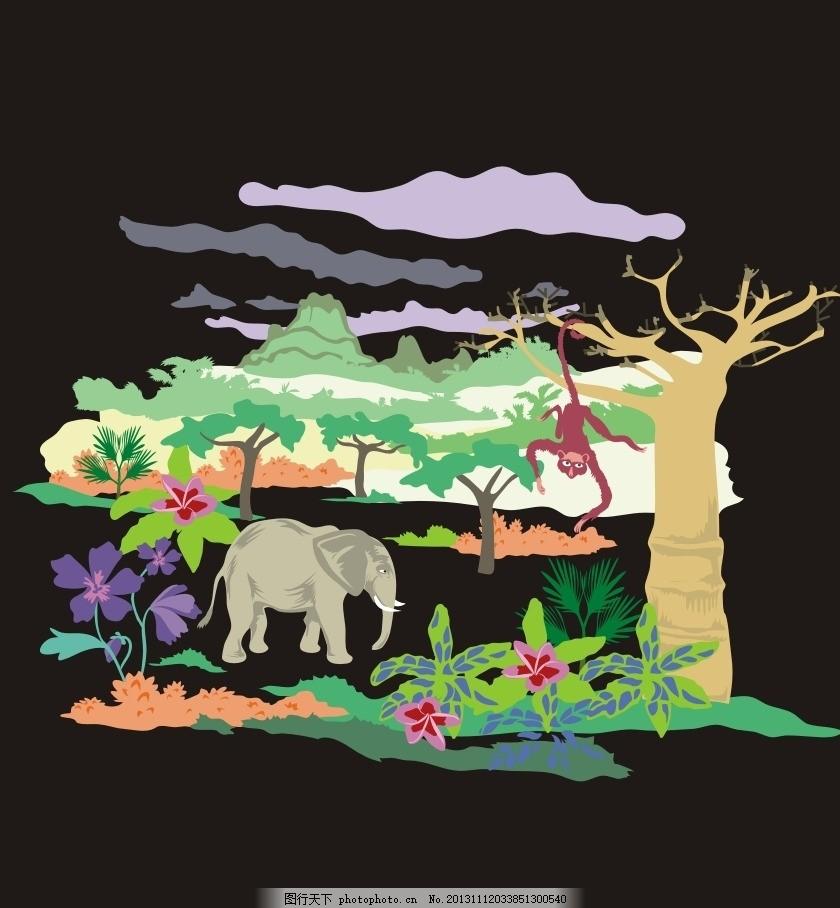 动物园 大象 猴子 森林 卡通 儿童 T恤印花 儿童印花 印花 服装印花 图案 图形设计 创意插画 插画 创意 创意设计 时尚 图案设计 卡通画 可爱卡通 装饰画 时尚色彩 卡通底纹 本本封面 儿童服装 儿童绘画 服装印花图案一 矢量素材 其他矢量 矢量 CDR
