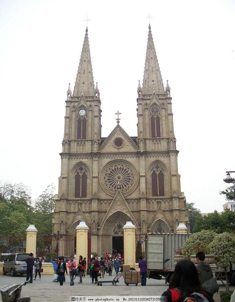 广州石室圣心教堂 哥特式建筑 全石结构 飞扶壁 石束柱 正面 尖顶石塔