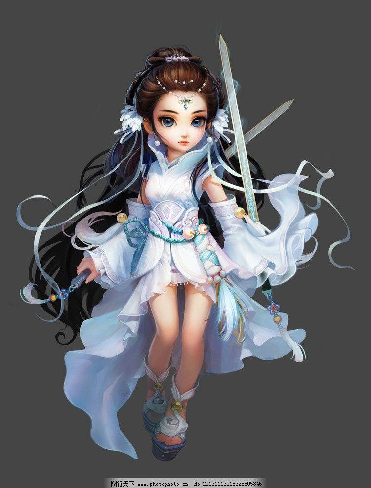 武侠 古装 手绘美女 古装美女 美女 剑 游戏美女原画及壁纸 动漫人物