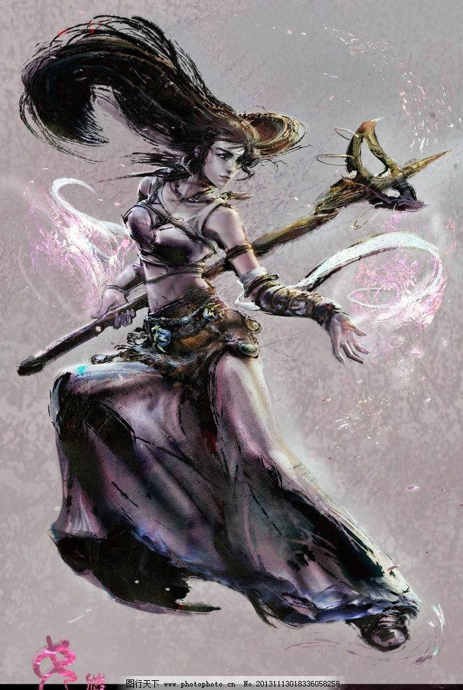 游戏美女 美女 手绘美女 游戏原画 战士 游戏美女原画及壁纸 动漫人物