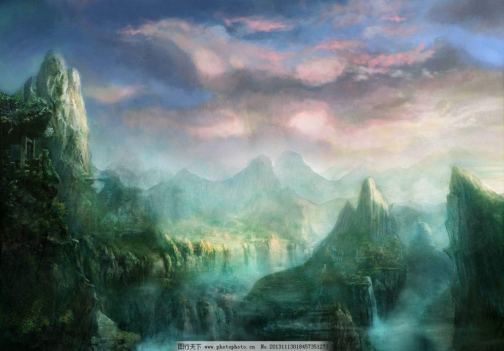 手绘风景 青山 山峰 云彩 云雾 手绘 动漫风景 风景漫画 动漫动画